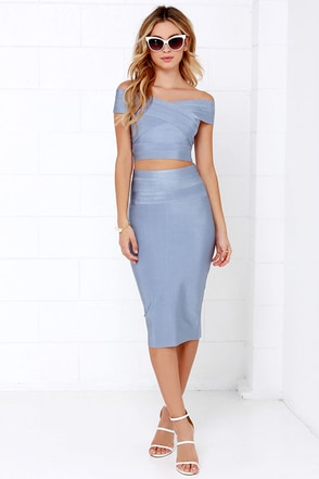 Some Like it Bardot Blue Grey Two-Piece Dress at Lulus.com!