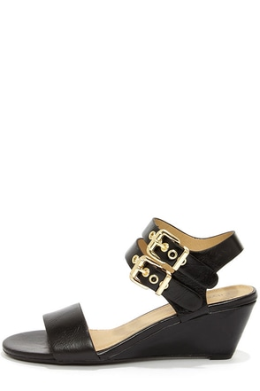 City Classified Speed Black and Gold Wedge Sandals