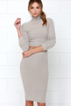 Fluff Around the Edges Grey Two-Piece Dress at Lulus.com!