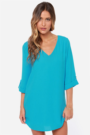 By All Means Blue Shift Dress