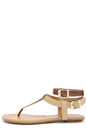 City Classified Bart Bronze and Light Tan Thong Sandals at Lulus.com!