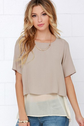 With Ease Taupe Short Sleeve Top at Lulus.com!