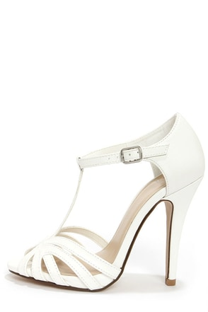 My Delicious Arky White T Strap Dress Sandals