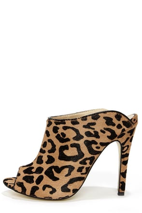 Chinese Laundry Lucky Leopard Pony Fur Tan Mules