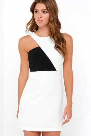 Notched What It Seems Black and Ivory Dress at Lulus.com!