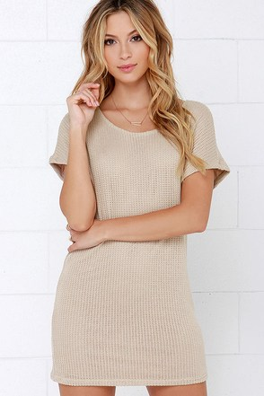 Dee Elle Baby Love Beige Short Sleeve Sweater Dress at Lulus.com!