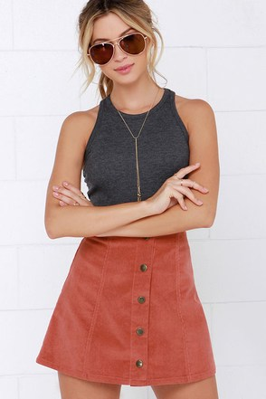 Attagirl Rust Red Corduroy A-Line Skirt at Lulus.com!