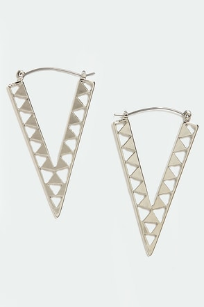 Newfangled Angle Silver Earrings