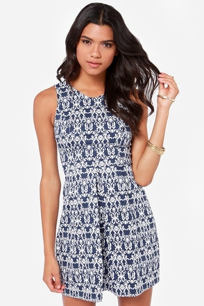 The Regal Thing Blue Print Dress