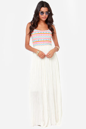 Got What it Takes Embroidered Ivory Maxi Dress