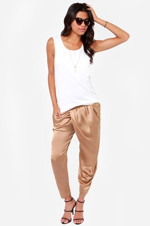 Billabong Wild Air Brown Satin Harem Pants
