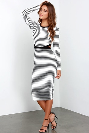 The Fifth Label Bitter Life Black and White Striped Midi Dress at Lulus.com!