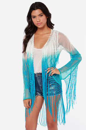 Raviya Take a Dip Cream and Aqua Blue Fringe Top