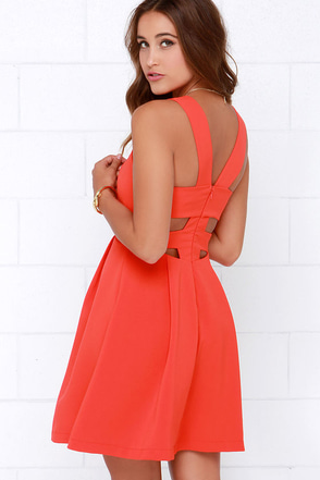 Refined and Dandy Coral Red Sleeveless Dress at Lulus.com!