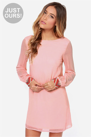 LULUS Exclusive Bead Reputation Peach Shift Dress