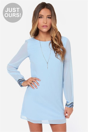 LULUS Exclusive Bead Reputation Light Blue Shift Dress