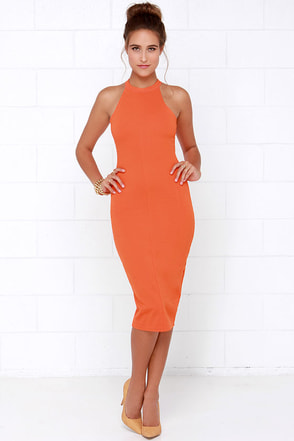 The Fifth Label Into the Sun Orange Midi Dress at Lulus.com!