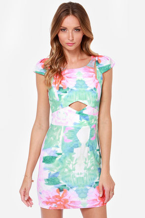 Lily Pond Lady Floral Print Dress