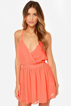 LULUS Exclusive Bright Kind of Love Neon Coral Dress