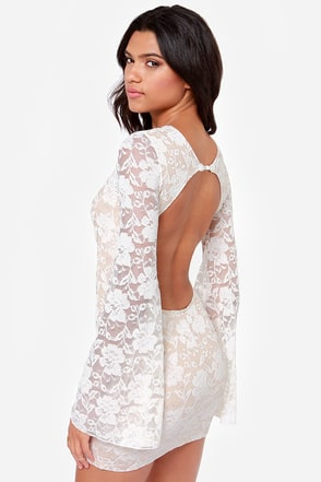 One Rad Girl Evan Backless Ivory Lace Dress