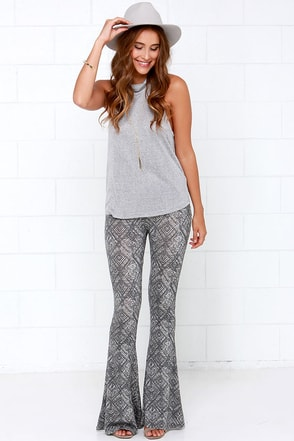 Others Follow On the Edge Grey Print Flare Pants at Lulus.com!