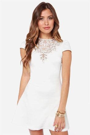 One Rad Girl Darlene Backless Ivory Dress
