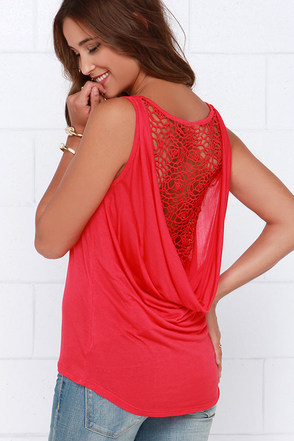 Black Swan Rosaline Red Lace Top at Lulus.com!