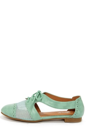 Marty 02 Mint Cutout Oxford Flats