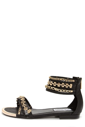 Steve Madden Lawful Black Multi Ankle Strap Sandals