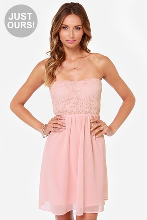 LULUS Exclusive Fun Forever Crochet Blush Pink Dress