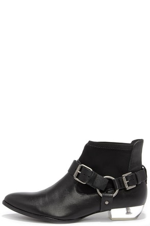 Matisse Jacques Black Leather and Lucite Booties at Lulus.com!