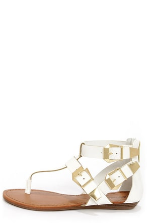 Vivian 33 White and Gold Buckled Thong Sandals