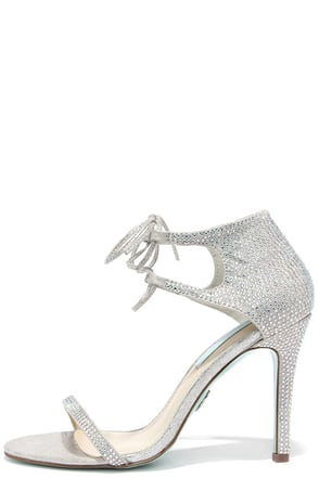 Blue by Betsey Johnson Gabi Silver Rhinestone Dress Sandals at Lulus.com!