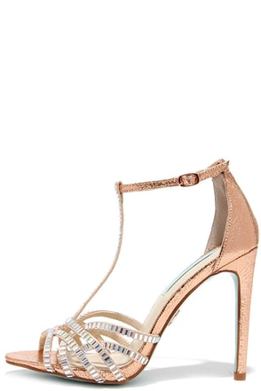 Blue by Betsey Johnson Ruby Rose Gold Rhinestone Heels at Lulus.com!