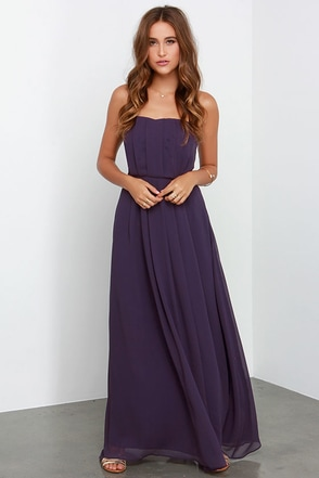 Empress Me Much Purple Strapless Maxi Dress at Lulus.com!