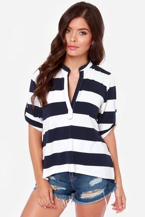 Lucy Love Fairbanks White and Navy Blue Striped Top
