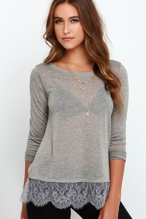 Others Follow Lottie Grey Long Sleeve Top at Lulus.com!