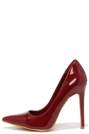 Aisle Be Waiting Burgundy Patent Pointed Pumps at Lulus.com!