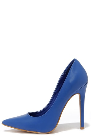 Click Your Heels Blue Pointed Pumps at Lulus.com!