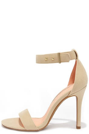 Play It Cool Nude Suede Ankle Strap Heels at Lulus.com!