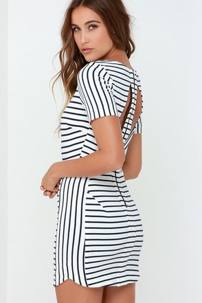 Half Past Swoon Ivory and Navy Blue Striped Dress at Lulus.com!