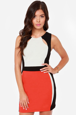 Top Gear Black Color Block Dress
