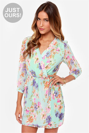 LULUS Exclusive Tend the Garden Mint Floral Print Dress