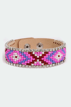 Southwest Vacation Fuchsia Beaded Bracelet