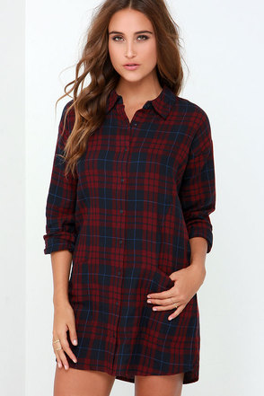 Olive & Oak Afternoon Delight Wine Red Plaid Shirt Dress at Lulus.com!