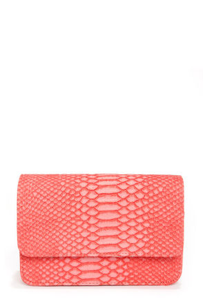 Next of Snakeskin Coral Purse