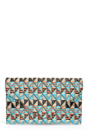 Weave Around Blue Print Clutch