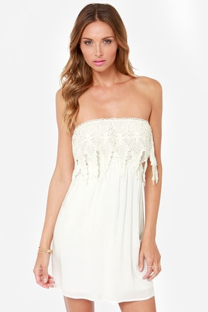 Ready For Anything Strapless Ivory Dress