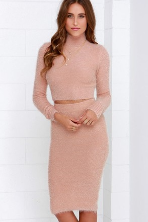 Fluff Around the Edges Blush Two-Piece Dress at Lulus.com!