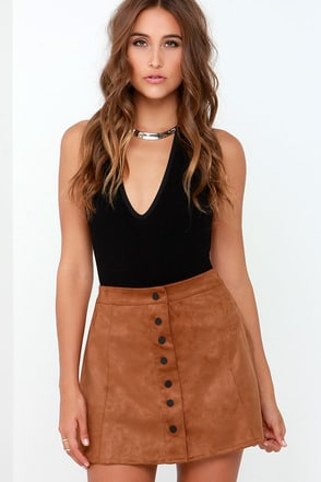 Glamorous Girl About Town Tan Suede A-Line Skirt at Lulus.com!